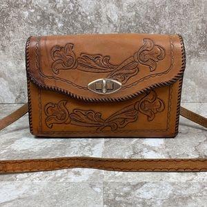 Vintage Leather Embossed Western Purse Crossbody
